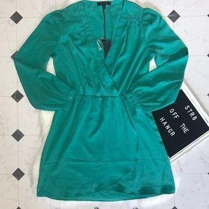 NWOT Honey Punch green long sleeve mini dress sz M